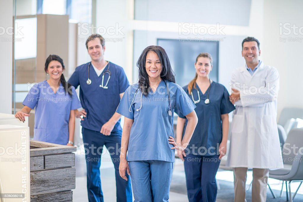 Hospital Staff Standing Together stock photo