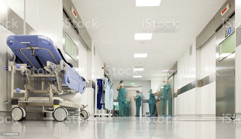 Hospital surgery corridor stock photo
