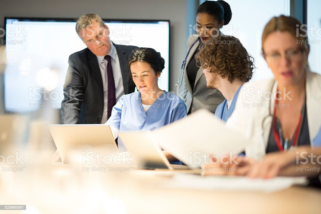 hospital team meeting stock photo