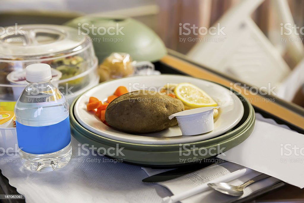 Hospital Tray with Dinner Meal stock photo