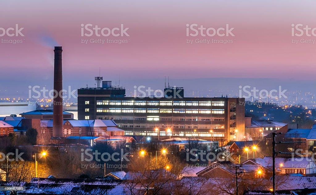 Hospital under snow stock photo