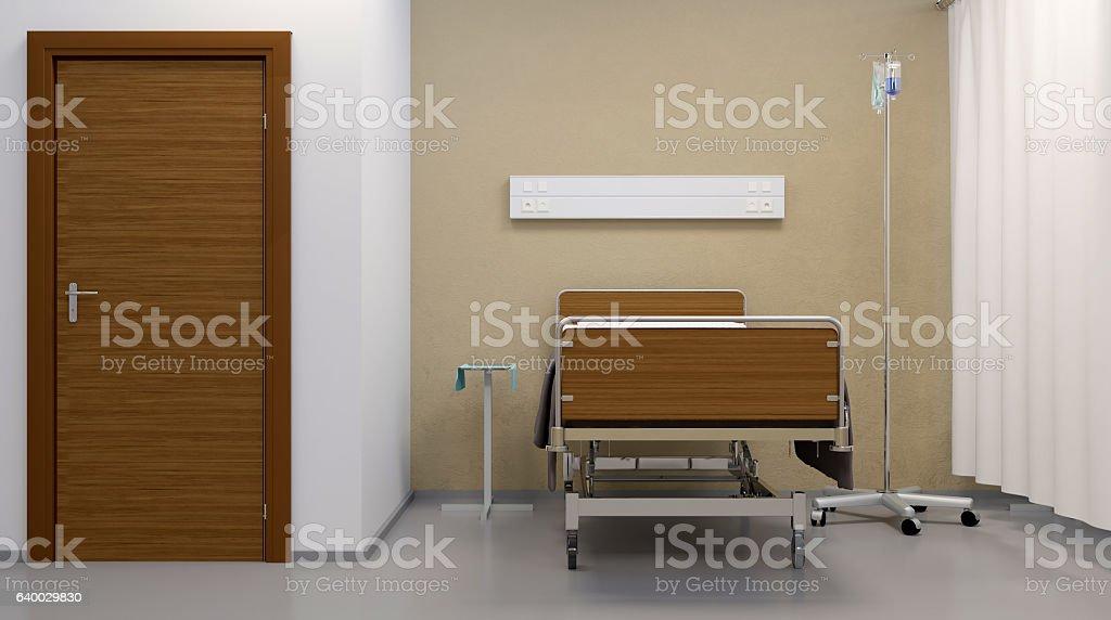Hospital ward. Interior room in the hospital. 3D rendering stock photo