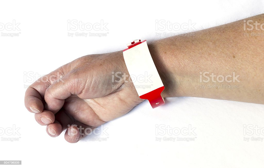 Hospital wrist band on an allergic patient stock photo