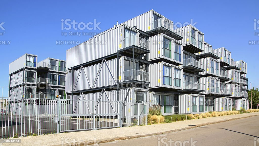Hostel for students from containers. stock photo