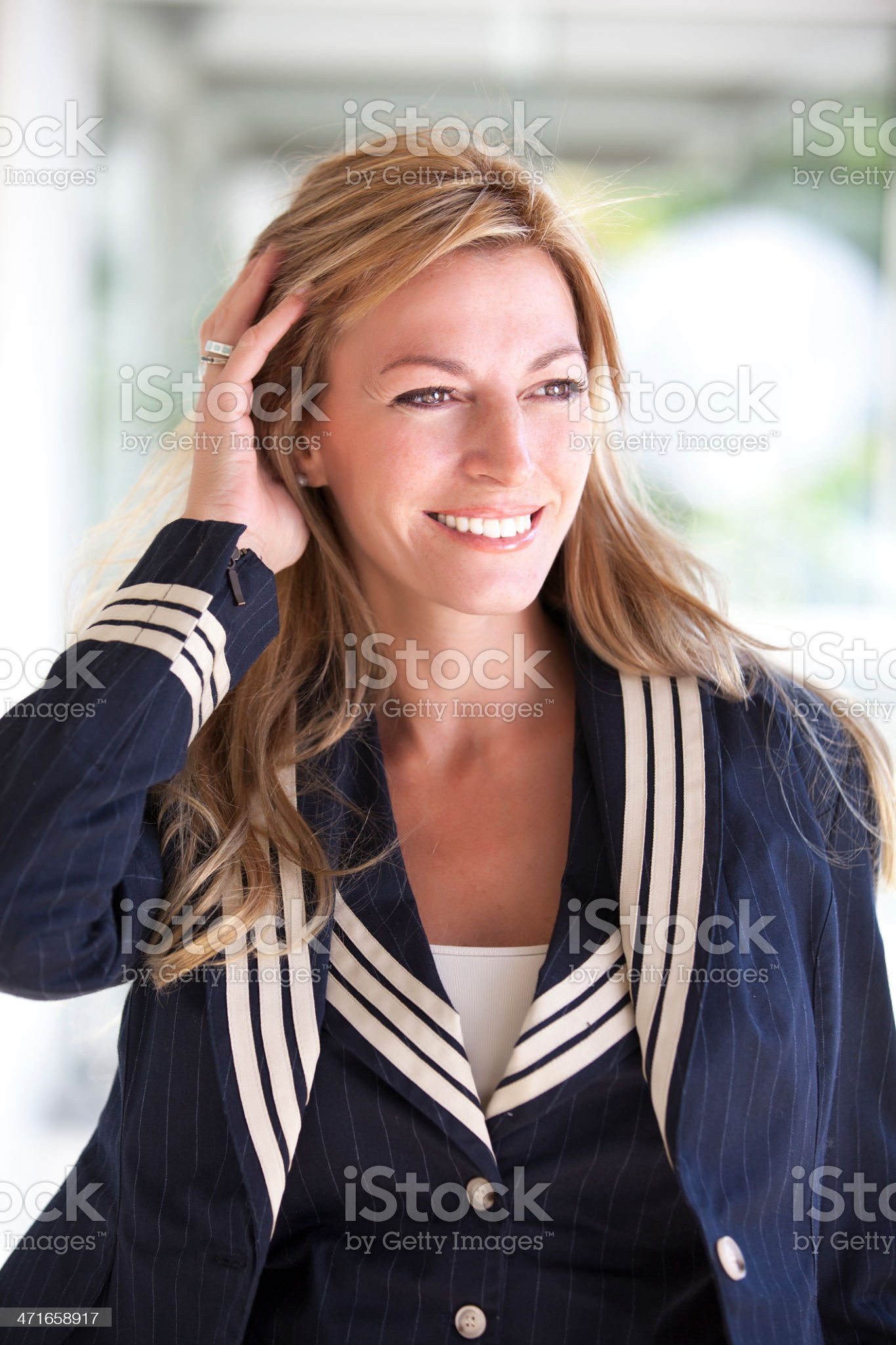 Hostess plane with blonde hair royalty-free stock photo