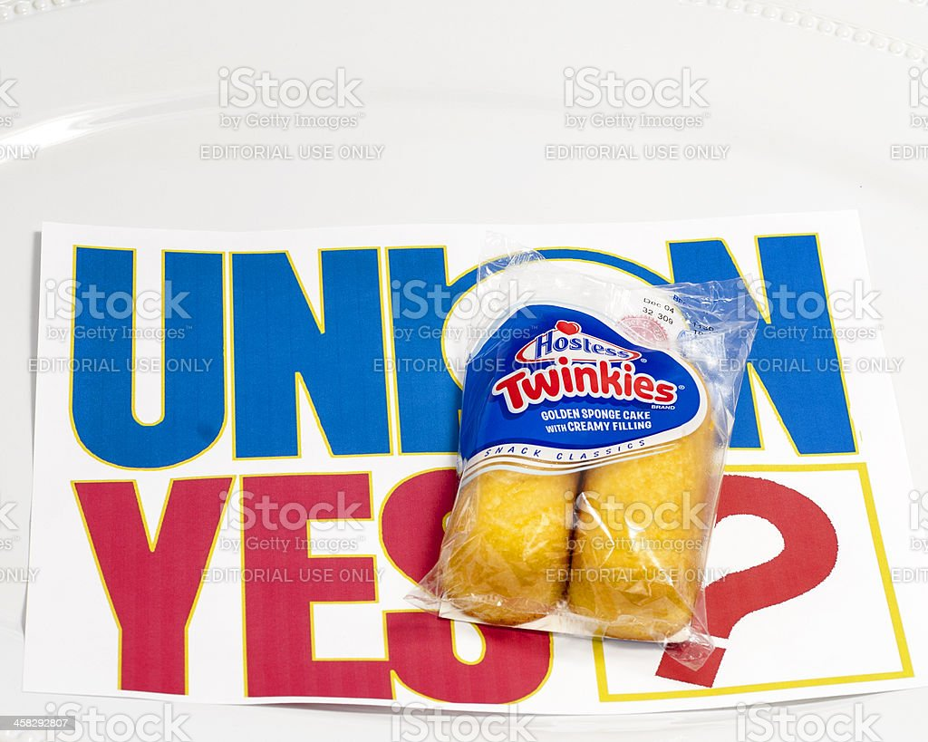 Hostess Twinkies and a Union vots sign stock photo