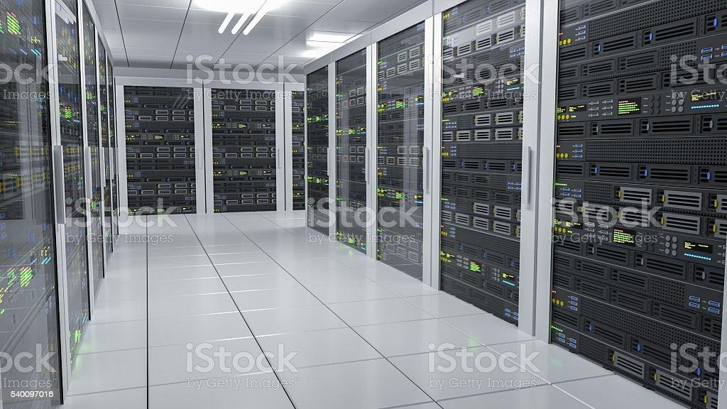 Hosting services. Servers in datacenter. 3D rendered illustration. stock photo