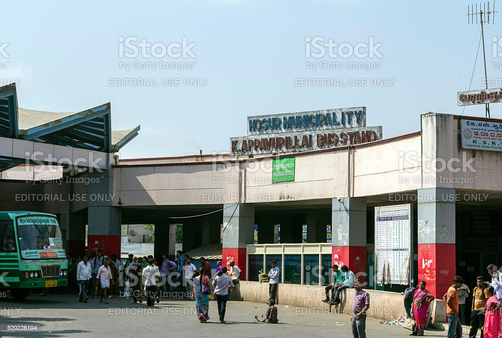 Hosur bus terminus, Tamil Nadu, India stock photo