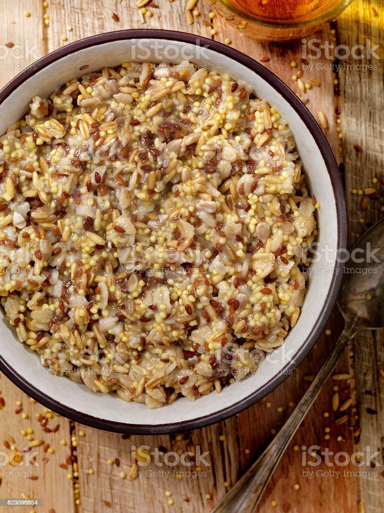 Hot 7 Grain Breakfast Cereal stock photo