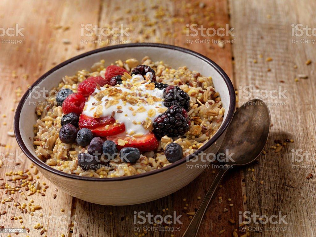 Hot 7 Grain Breakfast Cereal With Yogurt and Fresh Fruit stock photo
