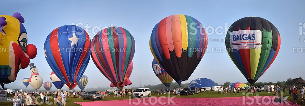 hot air ballons in early morning panoramic view stock photo