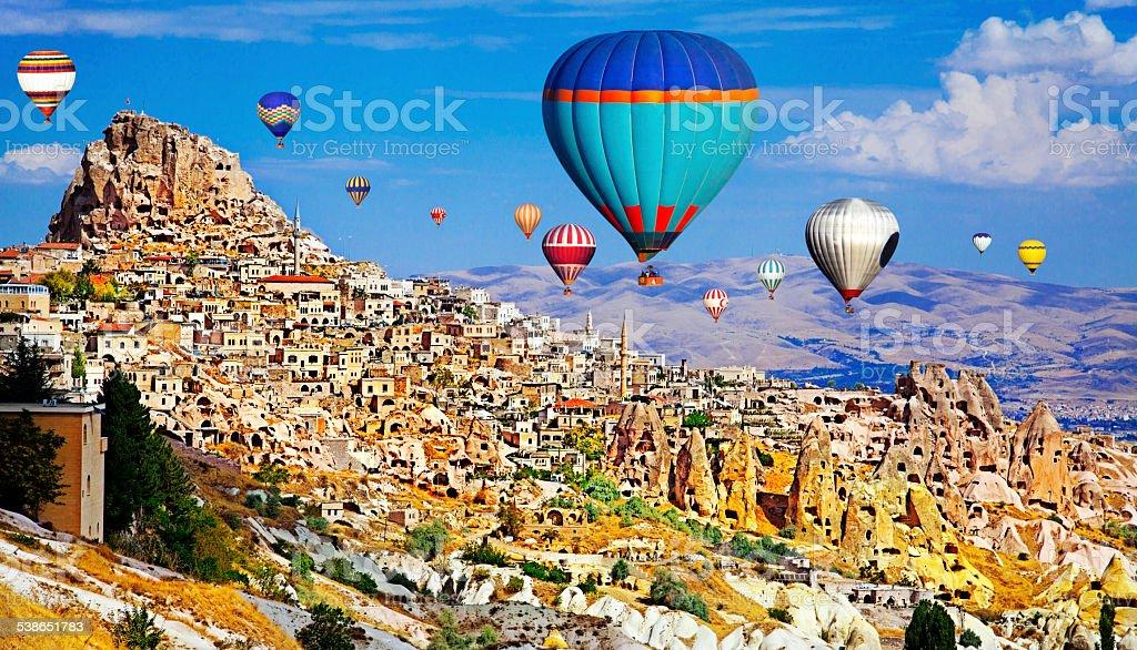 Hot Air Ballons of Cappadocia, Turkey stock photo