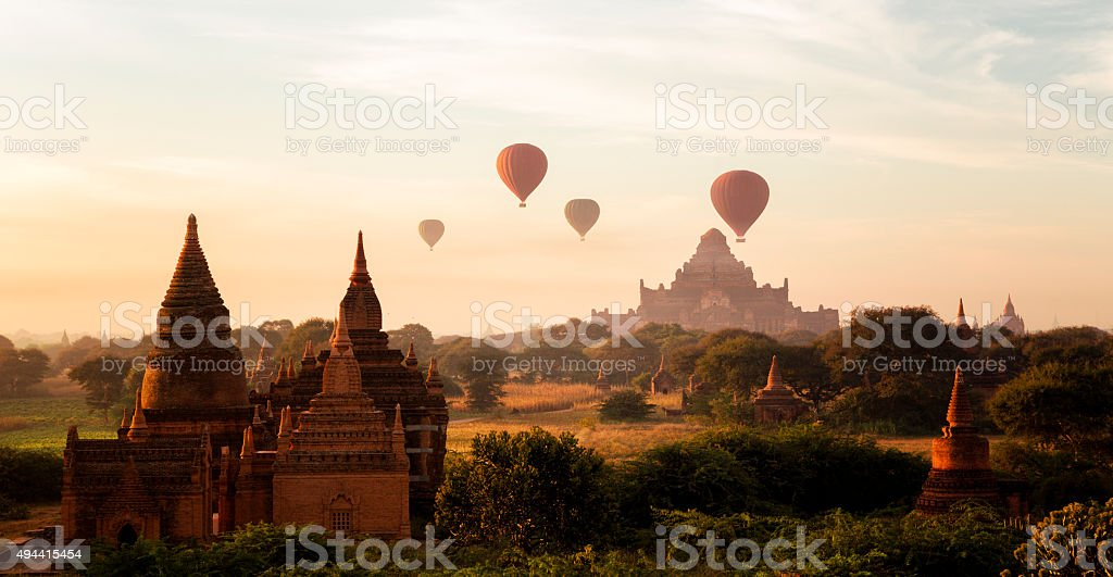 Hot Air Ballons over Bagan , Burma stock photo