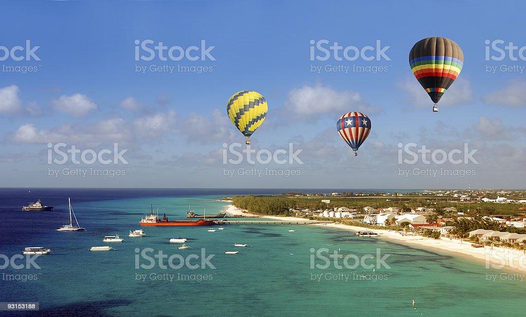 Hot air ballons over beach stock photo