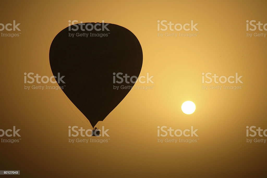 Hot Air Balloon and the Sun royalty-free stock photo