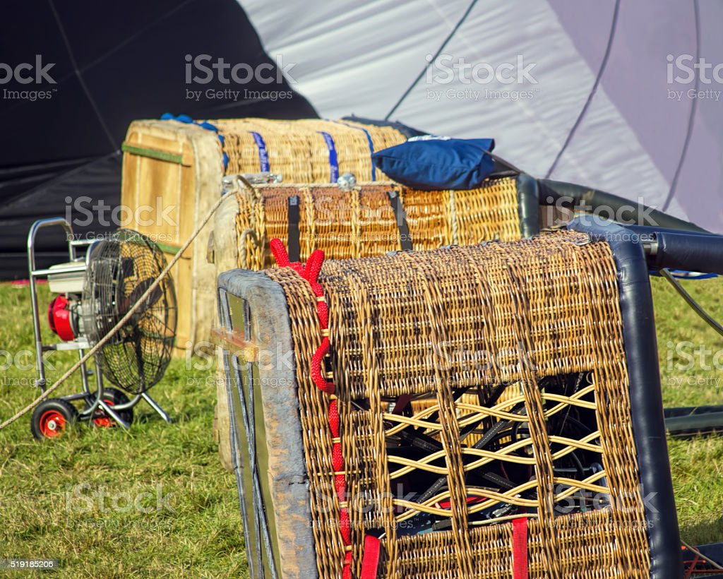 Hot air balloon baskets ready for flying at festival. stock photo