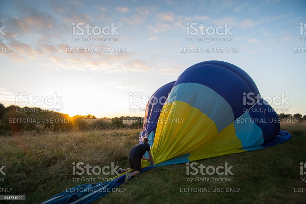 Hot Air Balloon Being Deflated stock photo