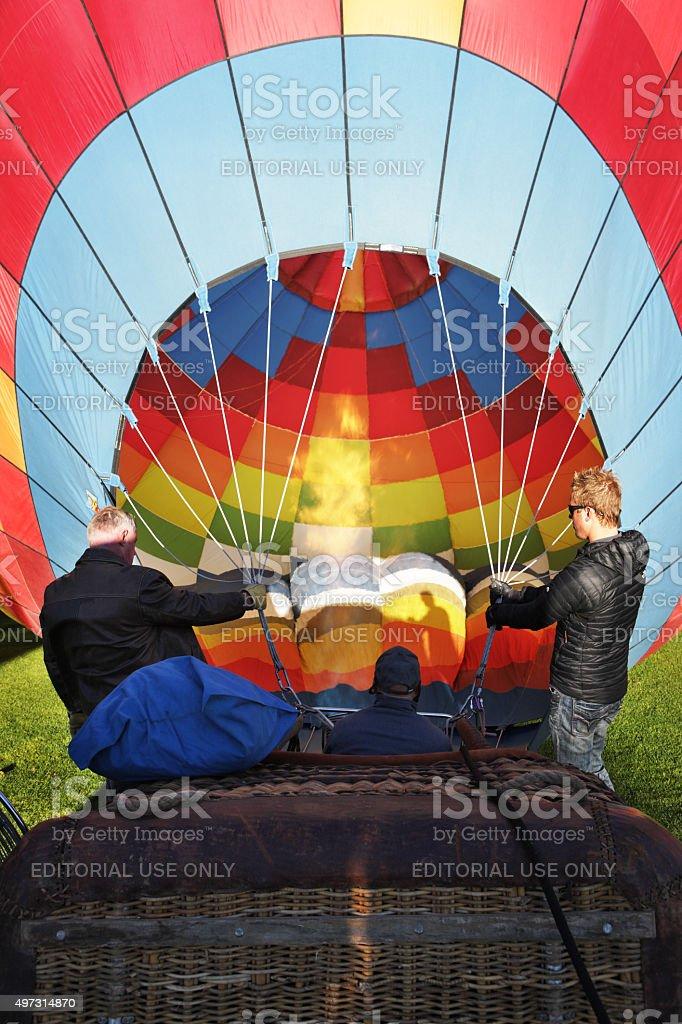 Hot Air Balloon Burner Crew stock photo