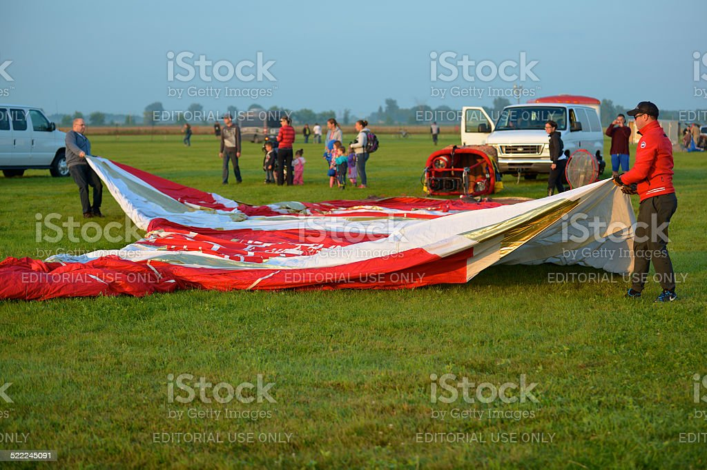 Hot air balloon envelope is laid out stock photo
