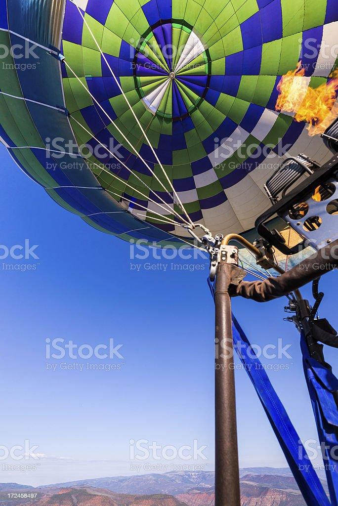 Hot Air Balloon POV Firing Burners royalty-free stock photo