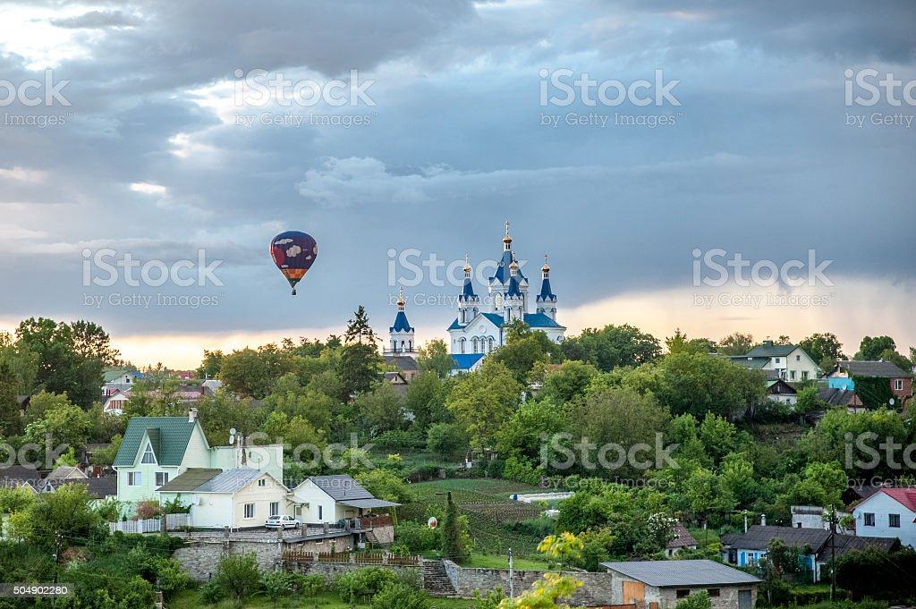 Hot air balloon fly over Kamyanets-Podilsky stock photo