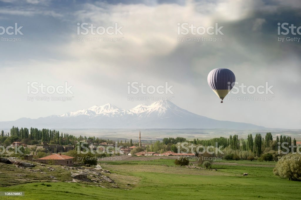 Hot air Balloon in Anatolian Landscape, Hasan Dagi volcano. royalty-free stock photo