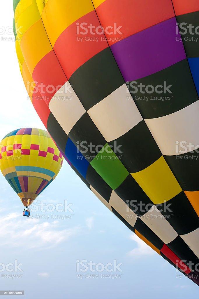 Hot air balloon in blue sky stock photo