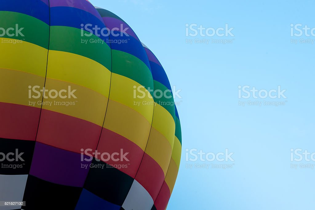 Hot air balloon in blue sky stock photo