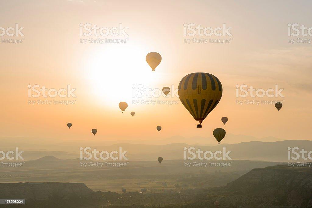 Hot air balloon in Cappadocia, Turkey stock photo