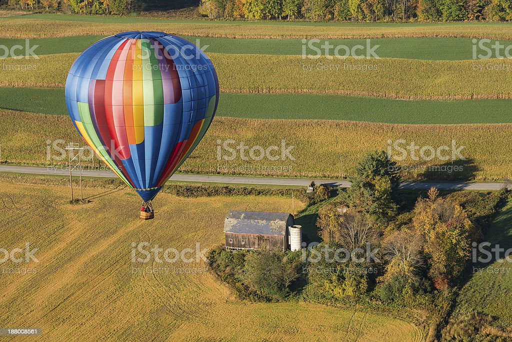 Hot Air Balloon In Flight Over New York royalty-free stock photo