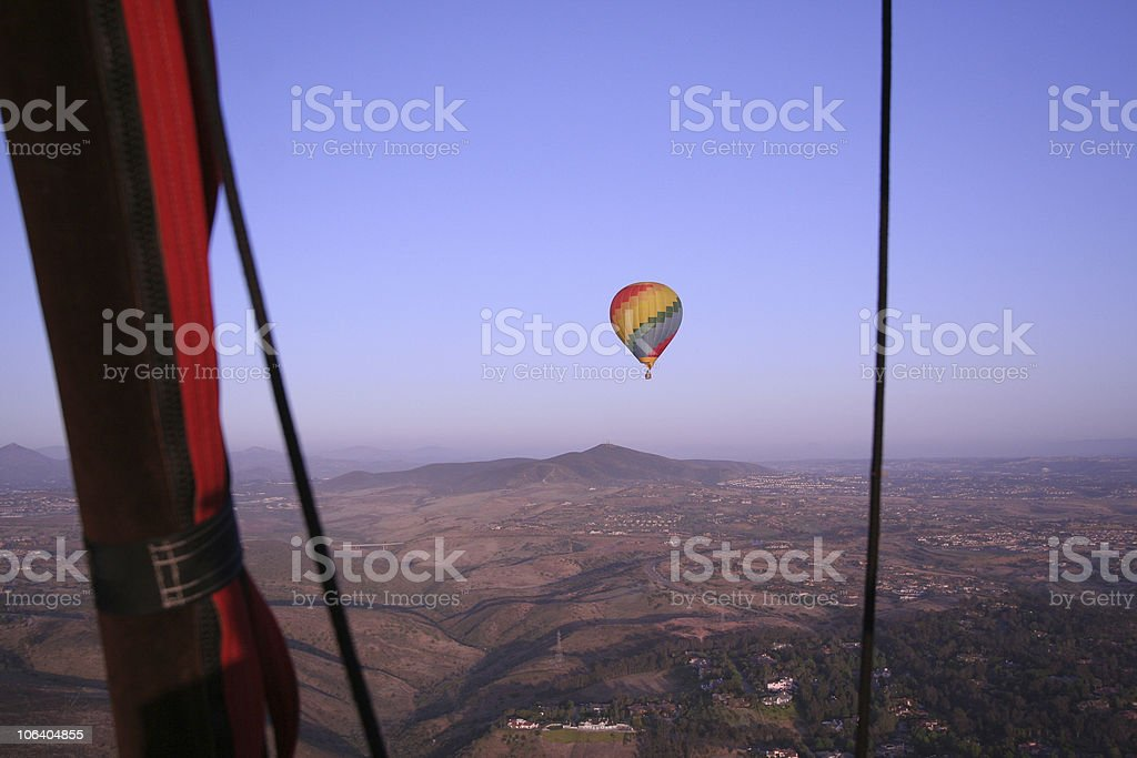 Hot Air Balloon in Flight royalty-free stock photo