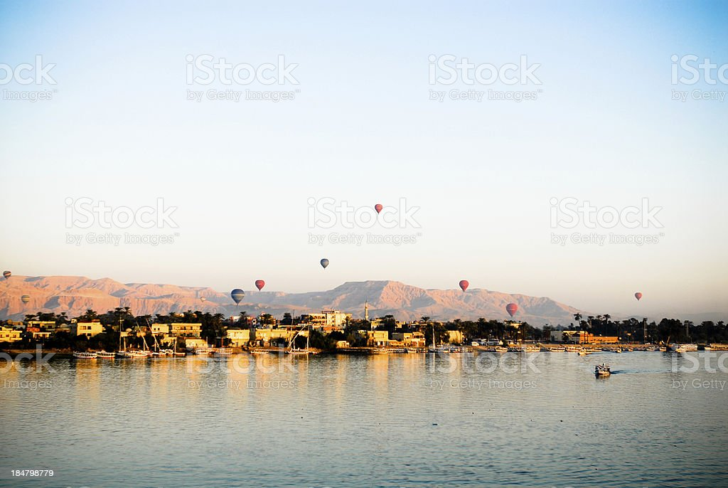 Hot air balloon in Luxor stock photo