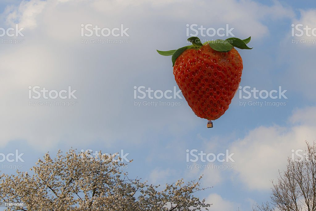 hot air balloon in the shape of a strawberry stock photo