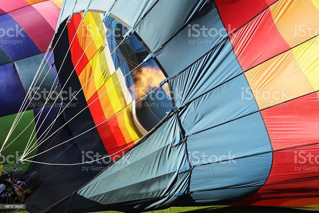 Hot Air Balloon Inflating stock photo