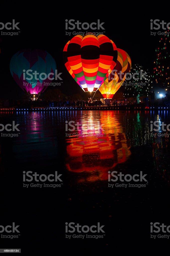 Hot Air Balloon Lighting at Night stock photo