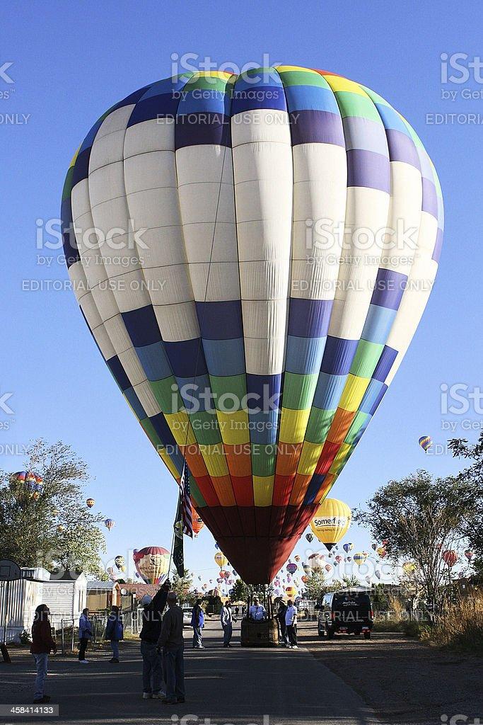 Hot Air Balloon Neighborhood Landing royalty-free stock photo