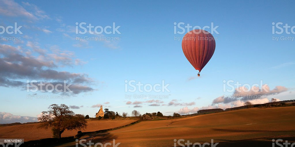 Hot Air Balloon - North Yorkshire Countryside - England stock photo