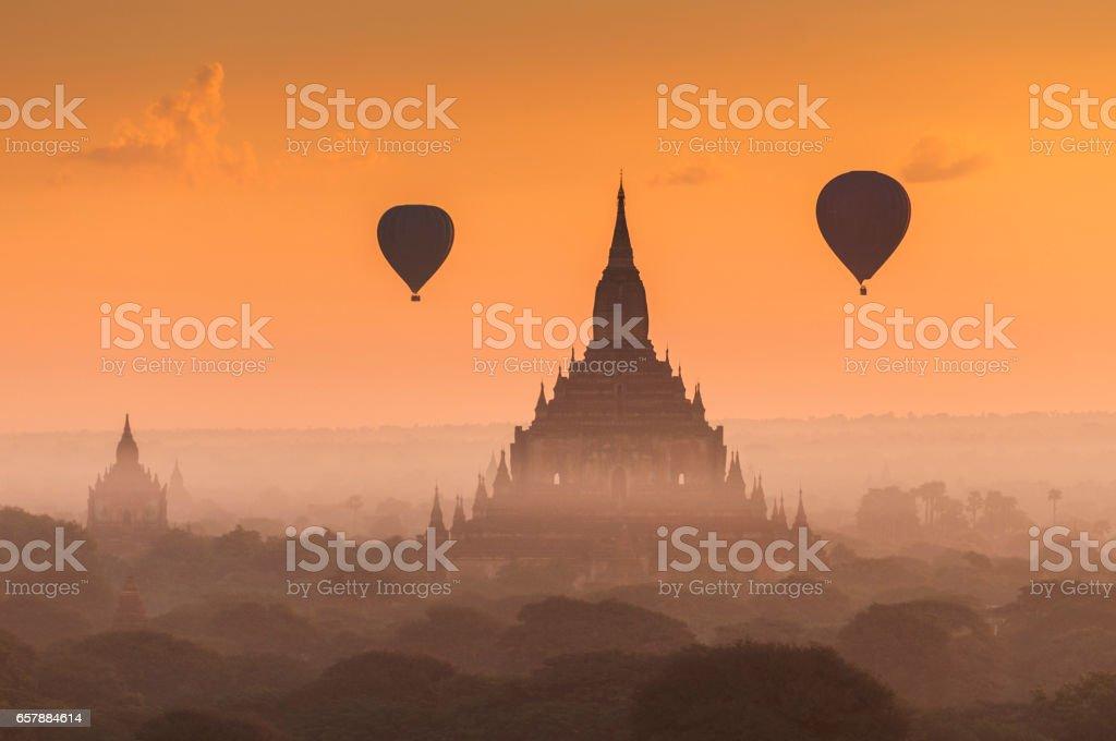 Hot air balloon over Bagan, Myanmar. stock photo