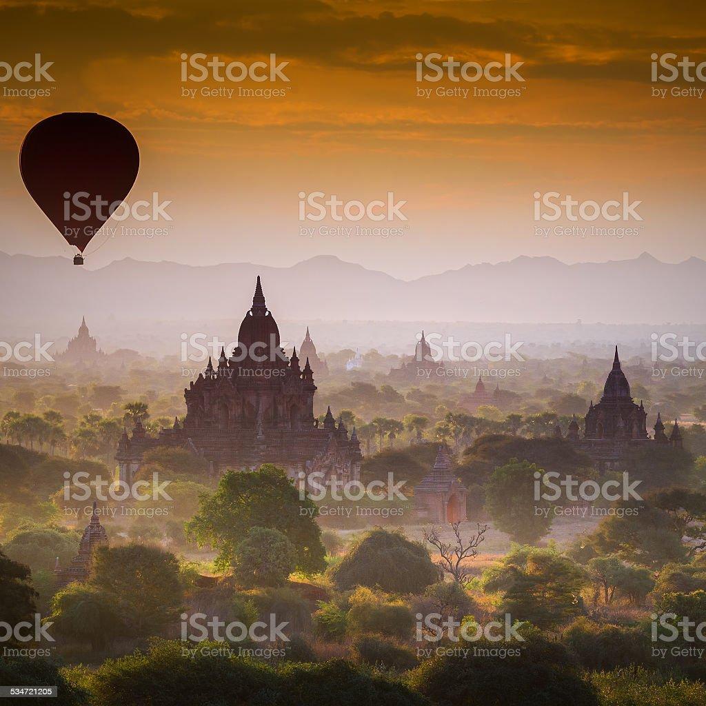 Hot air Balloon over Pagoda Fields stock photo