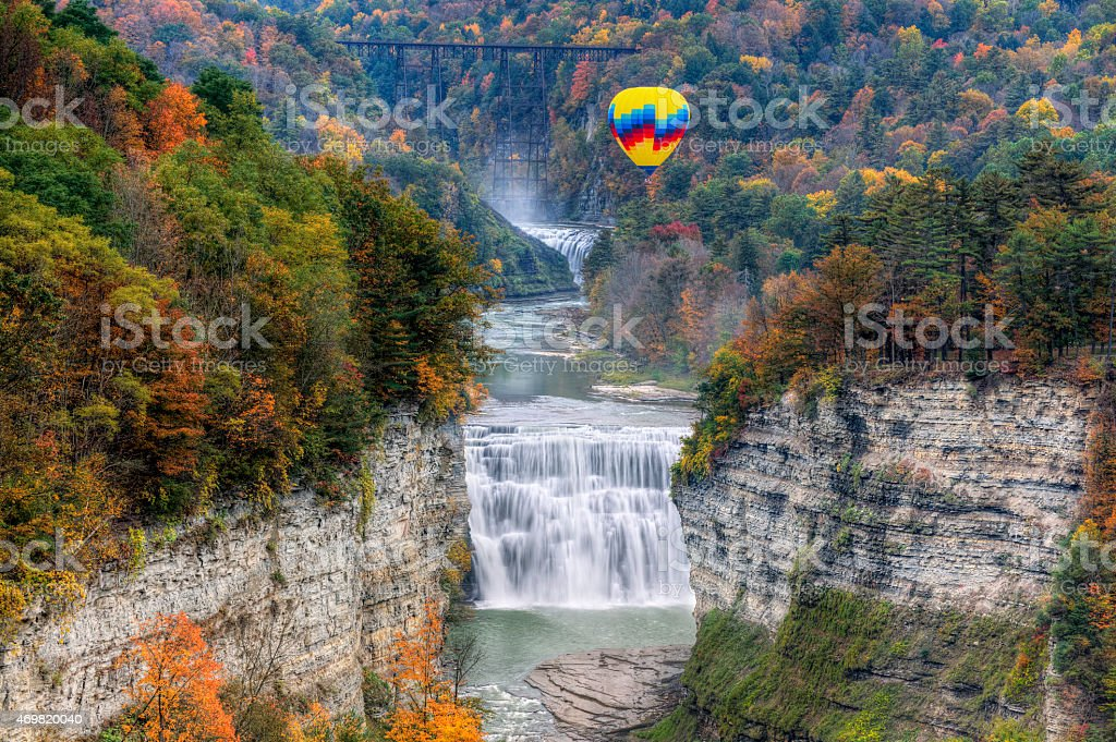 Hot Air Balloon Over The Middle Falls stock photo
