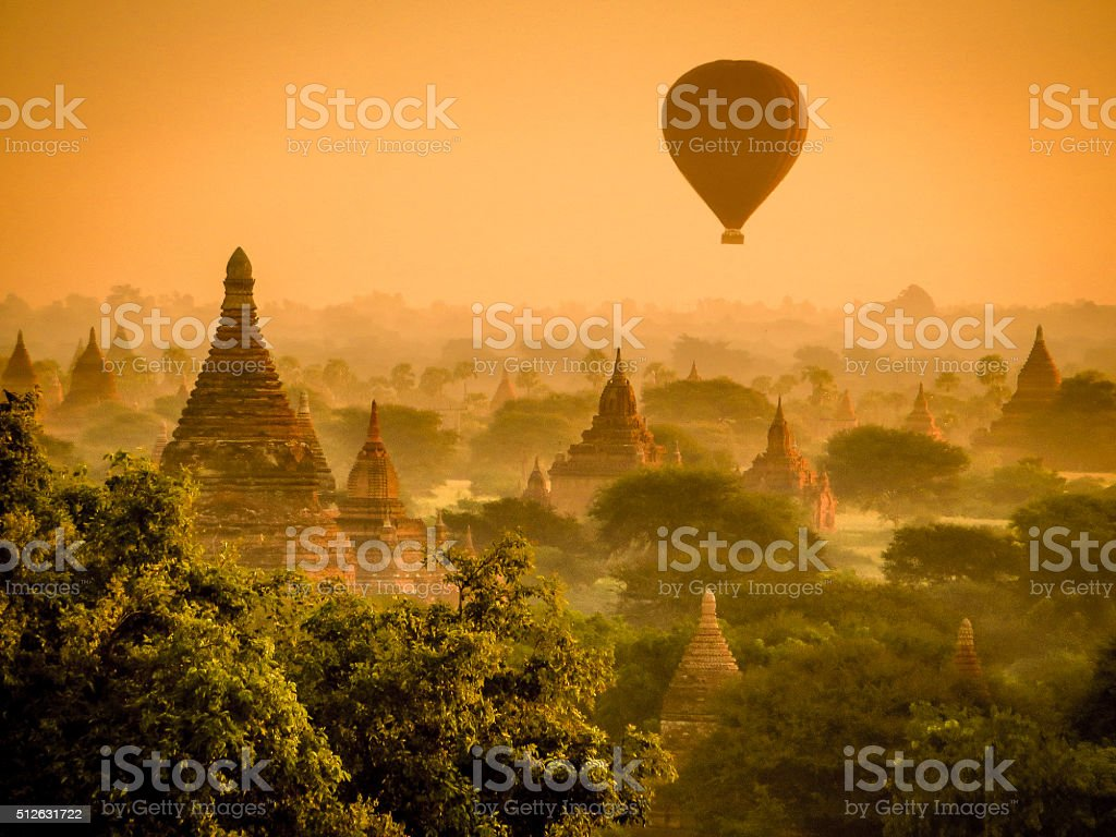 Hot air Balloon over The Temples in Bagan stock photo