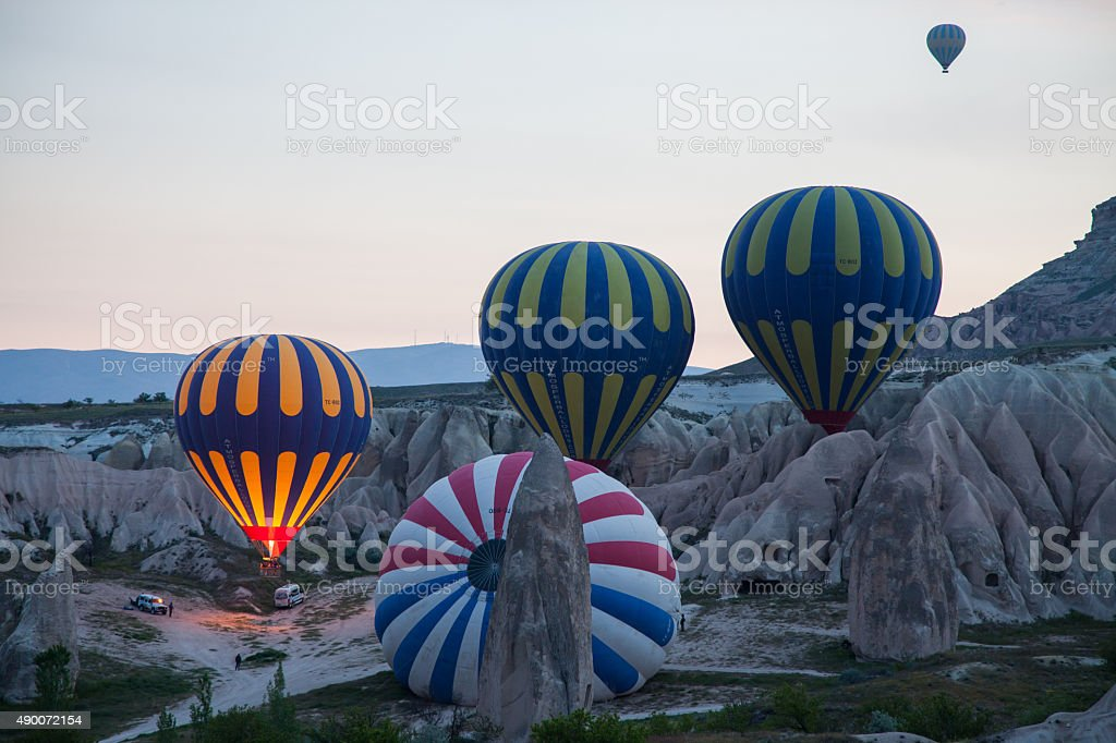 hot air balloon ready for take off from ground stock photo