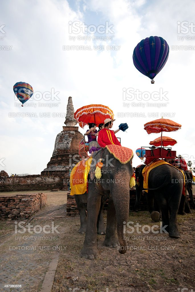Hot air balloon show in Thailand International Balloon Festival 2009 stock photo