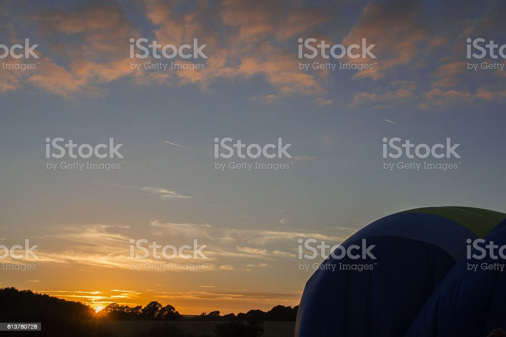 Hot Air Balloon Silhouette at Sunset stock photo
