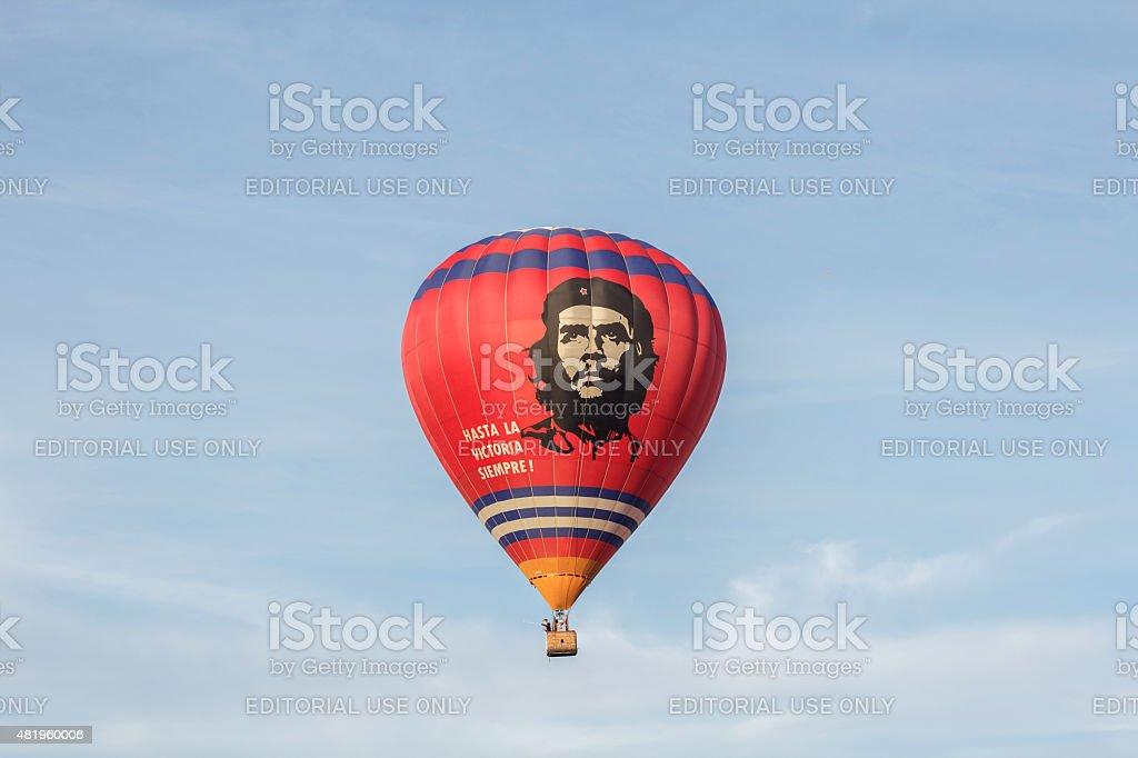 Hot air balloon with Che Guevara stock photo