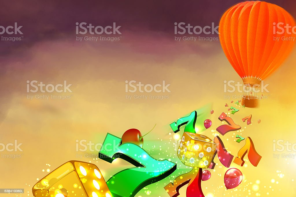 Hot air balloon with dice, lucky sevens and balloons stock photo