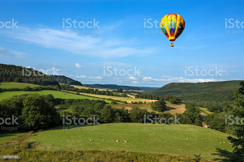 Hot Air Balloon - Yorkshire Dales - England stock photo