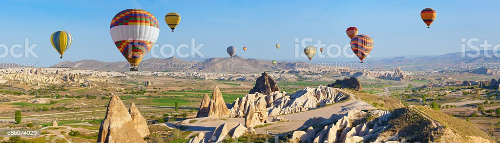 Hot air ballooning in Cappadocia, Turkey stock photo