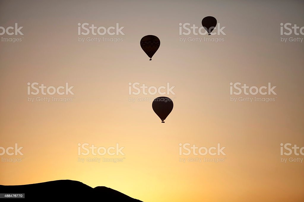 hot air balloons and mountain stock photo