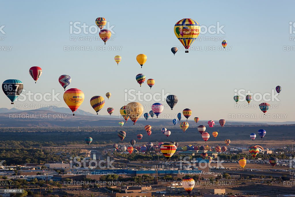 Hot Air Balloons at Sunrise Albuquerque New Mexico stock photo